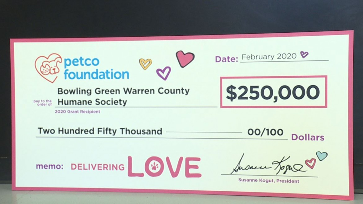 Bowling Green-Warren County Humane Society Receives Hefty Grant on Valentine's Day